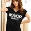 เสื้อยืดแฟชั่น ตัวยาว ผ้าเนื้อนิ่ม ลาย Maior สีดำ ( ตัวยาว size เล็ก สำหรับสาวสะโพกไม่เกิน 38 นิ้ว) thumbnail 1