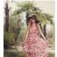 แมกซี่เดรสราคาถูก ผ้าชีฟองเนื้อดี พื้นสีแดง พิมพ์ลายดอกไม้สีขาวครีม แขนกุด คอกลม จั๊มช่วงเอว thumbnail 4