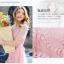 ชุดเดรสยาว ผ้าชีฟองสีชมพู เย็บตัดต่อกับผ้าลูกไม้ลายใบไม้สีชมพู thumbnail 4