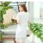 แฟชั่นเกาหลี set เสื้อ และกระโปรง ผ้าถักโครเชต์ลายดอกไม้ สีขาว thumbnail 3