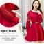 ชุดเดรสสวยๆ ผ้าคอตตอนผสม spandex เนื้อนุ่ม สีแดง แขนยาว thumbnail 5