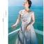 ชุดเดรสยาว ใส่ออกงาน ผ้าตาข่าย ยืดหยุ่นได้ดีสีเทา ใส่ได้ทั้งแบบไหล่ป้าน สีชมพูอ่อน สวยมากๆ thumbnail 7
