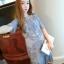 ชุดเดรส ผ้ามุ้งเนื้อละเอียดสีเทา ปักด้วยด้ายลายตามแบบ แขนยาว 3 ส่วน thumbnail 1
