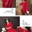 ชุดเดรสสีแดง ผ้าโพลีเอสเตอร์ผสม แขนยาว ดีไซน์เก๋ที่ปลายแขนเสื้อ thumbnail 7