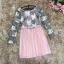 ชุดเดรสสวยๆ ตัวเสื้อผ้าถักโครเชต์ลายดอกไม้ 3 สี (เทา ครีม และชมพูกะปิ) แขนยาว thumbnail 9