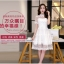 ชุดเดรสไปงาน ผ้ามุ้ง แฟชั่นเกาหลี ปักลายดอกไม้ สีขาว thumbnail 5