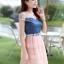 ชุดเดรสน่ารัก เดรสตัวเสื้อผ้ายีนส์ ช่วงอกและไหล่ ผ้าลูกไม้แบบนิ่มสีชมพู ยืดหยุ่นได้ดี กระโปรงผ้าไหมแก้วสีชมพู thumbnail 2