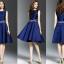 ชุดเดรสสวยๆ ผ้าซาตินสีน้ำเงิน แขนกุด เดรสเข้ารูปช่วงเอว กระโปรงทรงเอ thumbnail 6