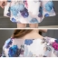 ชุดเดรสสั้น ผ้าคอตตอนผสม spandex เนื้อนุ่ม ยืดหยุ่นได้ พิมพ์ลายดอกกุหลาบ โทนสีฟ้า thumbnail 9
