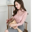 เสื้อสีชมพู เสื้อผ้าลูกไม้สีชมพูแขนยาว ช่วงคอเสื้อไหล่เป็นผ้ามุ้งซีทรู thumbnail 3