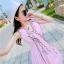 ชุดเดรสผ้าชีฟอง สีชมพูโอรส แขนกุด คอวี thumbnail 7