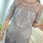 ชุดเดรส ผ้ามุ้งเนื้อละเอียดสีเทา ปักด้วยด้ายลายตามแบบ แขนยาว 3 ส่วน thumbnail 8