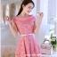 ชุดเดรสออกงาน ชุดเดรสเจ้าหญิงแสนหวาน ตัวชุดผ้าลูกไม้สีชมพู คอเสื้อเสื้อหยัก แต่งผ้าถ่วงคลุมไหล่และแขน สวยมากๆ thumbnail 2