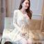 ชุดเดรส Brand Dowisi ชุดเดรสสั้น ตัวเสื้อผ้าถักลายดอกไม้สีชมพู คอเสื้อประดับมุก กระโปรงผ้าโปร่งปักดิ้นลายดอกไม้ (พร้อมส่ง) thumbnail 1
