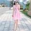 ชุดเดรสผ้าชีฟอง สีชมพูโอรส แขนกุด คอวี thumbnail 12