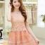 ชุดเดรสสั้น ตัวเสื้อผ้าถักลายดอกไม้ สีส้ม กระโปรงผ้าไหมแก้ว มีซับใน thumbnail 2