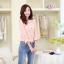 เสื้อผ้าคอตตอนผสม เนื้อนุ่มมาก สีชมพู ตัวเนื้อผ้าเป็นลายดอกไม้ แขนยาวสี่ส่วน thumbnail 2