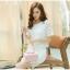 แฟชั่นเกาหลี set เสื้อ และกระโปรง ผ้าถักโครเชต์ลายดอกไม้ สีขาว thumbnail 4