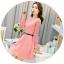 ชุดเดรสสวยๆ ผ้าคอตตอนผสม spandex เนื้อนุ่ม สีชมพู แขนยาว thumbnail 7