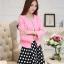 แฟชั่นเกาหลี set เสื้อสูท สีชมพู และกระโปรง สวยมากๆ thumbnail 3