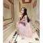 ชุดเดรสสวยๆ ตัวชุดเป็นผ้ามุ้ง สีชมพู เย็บซ้อนด้วยผ้าปักลายใบไม้ เข้ารูปช่วงเอว thumbnail 9
