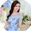 ชุดเดรสสีฟ้า ผ้าไหมแก้ว organza ลายดอกกุหลาบ ซีทรูช่วงไหล่ thumbnail 7