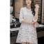 ชุดเดรสสวยๆ ตัวชุดผ้าโปร่งเนื้อละเอียด ตัวผ้าเดินเส้นผ้าริบบิ้นสีขาวโค้งหยักตามแบบ thumbnail 3