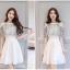 ชุดเดรสเกาหลี ผ้าโพลีเอสเตอร์ผสมสีขาว เปิดไหล่ ปิดต้นแขน thumbnail 7