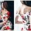 ชุดเดรสสั้น ผ้าคอตตอนผสม spandex เนื้อนุ่มมากพื้นสีขาว ลายดอกกุหลาบสีแดง thumbnail 4