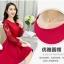 ชุดเดรสสวยๆ ผ้าคอตตอนผสม spandex เนื้อนุ่ม สีแดง แขนยาว thumbnail 3