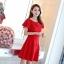 ชุดเดรสชีฟอง ชนิดหนา สีแดง ผ้านิ่มสวย ทิ้งตัวได้ดี คอระบาย thumbnail 4