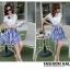 ชุดเดรสเกาหลี ตัวเสื้อผ้าชีฟองสีขาว แต่งคอถ่วง แขนเสื้อระบายเหมือนแบบ thumbnail 5