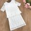 เสื้อผ้าทำงาน set เสื้อและกระโปรงผ้าลูกไม้ถักสีขาว ใส่ทำงานสวยมากๆ thumbnail 7