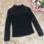 เสื้อสีดำ เสื้อผ้าลูกไม้สีดำแขนยาว ช่วงไหล่เป็นผ้ามุ้งซีทรู thumbnail 16