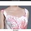 ชุดเดรสสายเดี่ยว ผ้าคอตตอนผสมพื้นสีขาวพิมพ์ลายดอกไม้สีแดง thumbnail 8