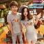 ชุดคู่รัก เสื้อยืดและเดรส สีเทา ผ้า Cotton 100% เนื้อดีเยี่ยม thumbnail 1