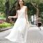 ชุดราตรียาว Brand Mei Na ชุดเดรสยาวแขนกุด ตัวเสื้อผ้าโปร่งสีน้ำตาล แต่งด้วยดิ้นสีขาว ตัวกระโปรงผ้าชีฟองสีขาว สวยมากๆครับ (พร้อมส่ง) thumbnail 2