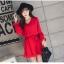 ชุดเดรสแฟชั่น ผ้าโพลีเอสเตอร์ สีแดง (เนื้อผ้าคล้ายชีฟอง แต่หนากว่าชีฟอง) thumbnail 1