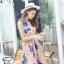 ชุดเดรสออกงาน ผ้าปักริบบิ้นเป็นรูปดอกไม้โทนสีน้ำเงิน และสีชมพูกะปิ แขนกุด thumbnail 2