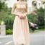 ชุดเดรสยาว ตัวเสื้อผ้าลูกไม้ สีครีม ปักด้วยด้ายสีเหลือบทอง thumbnail 4