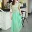 ชุดเดรสยาว ชุดเดรสออกงาน ตัวเสื้อผ้าถักลายดอกไม้ สีเขียวเหลือบทอง กระโปรงผ้าชีฟองอัดพลีต พร้อมส่ง thumbnail 8