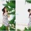 ชุดว่ายน้ำวันพีช สายเดี่ยว สีขาว ลายดอกไม้สีดำ น่ารักมากๆ ข้างในเป็นกางเกงขาสั้น thumbnail 5