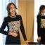 เสื้อผ้าคอตตอนผสม แฟชั่นเกาหลี สีดำ ยืดหยุ่นได้ แขนยาว ประดับ มุกสีขาว คริสตรัลใสสวยเก๋มากๆ thumbnail 1