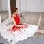 ชุดเดรสเกาหลี ผ้าโพลีเอสเตอร์สีแดง แขนกุด ช่วงเอว คาดด้วยผ้าริบบิ้นสีแดง thumbnail 6