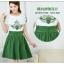 ชุดเดรสสั้น แฟชั่นเกาหลี ผ้าชีฟอง เนื้อดีสีขาว ปักลายดอกไม้ที่หน้าอกและแขนเสื้อสีเขียว คอและปลายแขนเสื้อจั๊ม thumbnail 3
