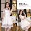 ชุดเดรสไปงาน ผ้ามุ้ง แฟชั่นเกาหลี ปักลายดอกไม้ สีขาว thumbnail 6