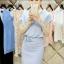 ชุดเดรสทำงาน ผ้าคอตตอนผสม ตัวเสื้ออัดพลีต สีฟ้า thumbnail 2
