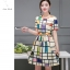 ชุดเดรสแฟชั่น ผ้าซาตินสีครีม พิมพ์ลายเส้นกราฟฟิกตามแบบ thumbnail 4