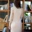 ชุดเดรสเกาหลี ผ้าคอตตอนผสมเนื้อทราย สีเนื้อ ยืดหยุ่นได้ ตัวเสื้อเย็บซ้อนด้วยผ้าลูกไม้ thumbnail 4