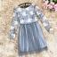ชุดเดรสน่ารัก ตัวเสื้อผ้าถักโครเชต์ลายดอกไม้ 3 สี (เทา ครีม และชมพูกะปิ) แขนยาว thumbnail 7